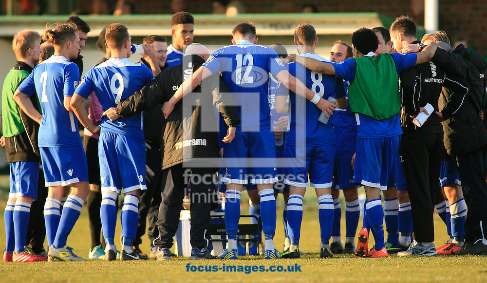 The Lowestoft Town team huddle at the final whistle in action during the Conference North match at Grange Lane, North Ferriby<br /> Picture by Richard Gould/Focus Images Ltd +44 7855 403186<br /> 07/03/2015