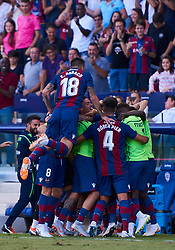 September 30, 2018 - Valencia, U.S. - VALENCIA, SPAIN - SEPTEMBER 30: the Levante UD team celebrate the second goal during the La Liga match between Levante UD and Deportivo Alaves at Estadio Ciutat de Valencia on September 30, 2018, in Valencia, Spain. (Photo by Carlos Sanchez Martinez/Icon Sportswire) (Credit Image: © Carlos Sanchez Martinez/Icon SMI via ZUMA Press)