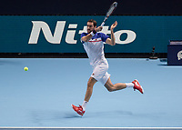 Tennis - 2017 Nitto ATP Finals at The O2 - Day Three<br /> <br /> Group Boris Becker Singles: Marin Cilic (Croatia) Vs Jack Sock (United States) <br /> <br /> Marin Cilic (Croatia) runs across the baseline and strikes a passing shot  at the O2 Arena<br /> <br /> COLORSPORT/DANIEL BEARHAM
