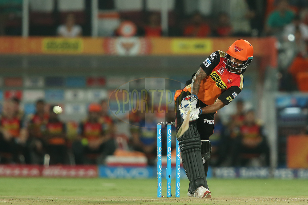 Shikhar Dhawan of Sunrisers Hyderabad flicks a delivery through the leg side during match 42 of the Vivo IPL 2016 (Indian Premier League) between the Sunrisers Hyderabad and the Delhi Daredevils held at the Rajiv Gandhi Intl. Cricket Stadium, Hyderabad on the 12th May 2016<br /> <br /> Photo by Shaun Roy / IPL/ SPORTZPICS