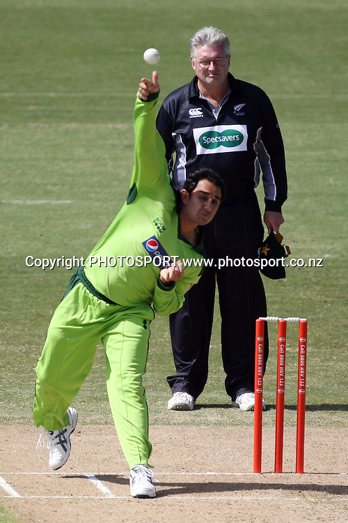 Pakistan bowler Saeed Ajmal. Twenty20 Cricket, Auckland Aces v Pakistan, Colin Maiden Park, Auckland. Thursday 23 December 2010. Photo: Ella Brockelsby/photosport.co.nz