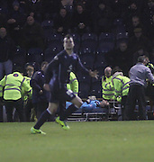 Kyle Letheren is stretchered off  - Raith Rovers v Dundee,  SPFL Championship at Dens Park<br /> <br />  - &copy; David Young - www.davidyoungphoto.co.uk - email: davidyoungphoto@gmail.com