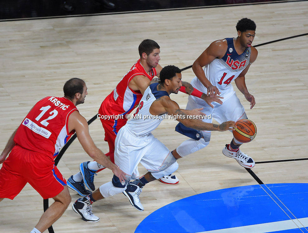 DERRICK ROSE of United states of America basketball team in action during Final FIBA World cup match against STEFAN JOVIC of Serbia, Madrid, Spain Photo: MN PRESS PHOTO<br /> Basketball, Serbia, United states of America, Final, FIBA World cup Spain 2014
