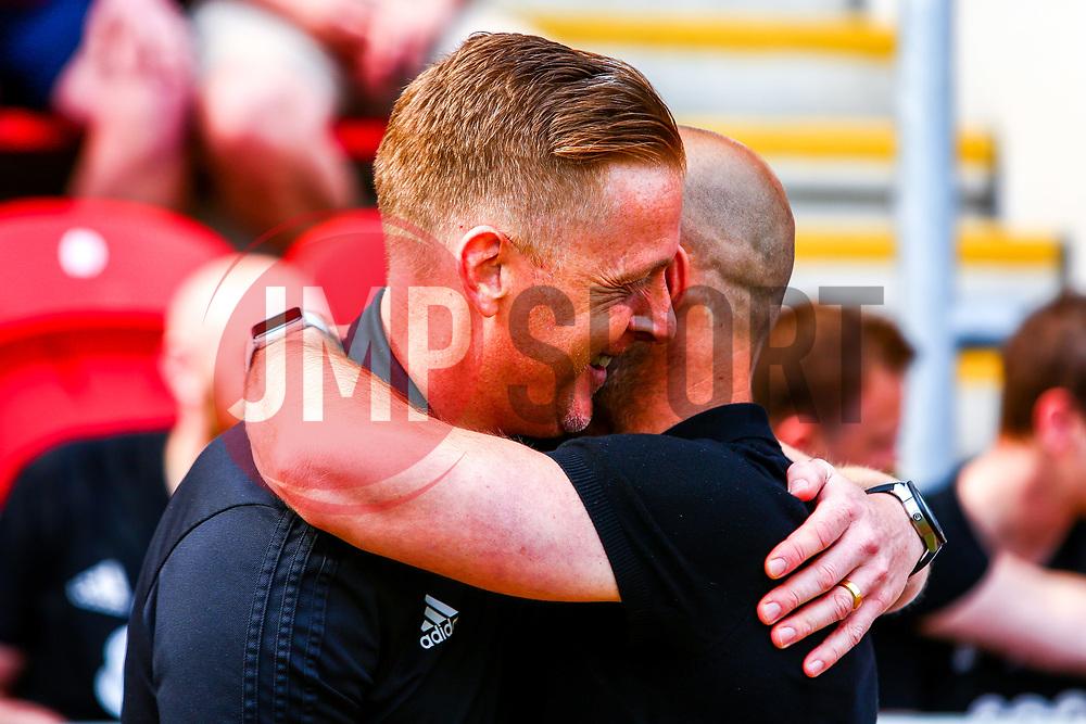 Birmingham City manager Garry Monk and Rotherham United manager Paul Warne share a hug before kick off - Mandatory by-line: Ryan Crockett/JMP - 22/04/2019 - FOOTBALL - Aesseal New York Stadium - Rotherham, England - Rotherham United v Birmingham City - Sky Bet Championship