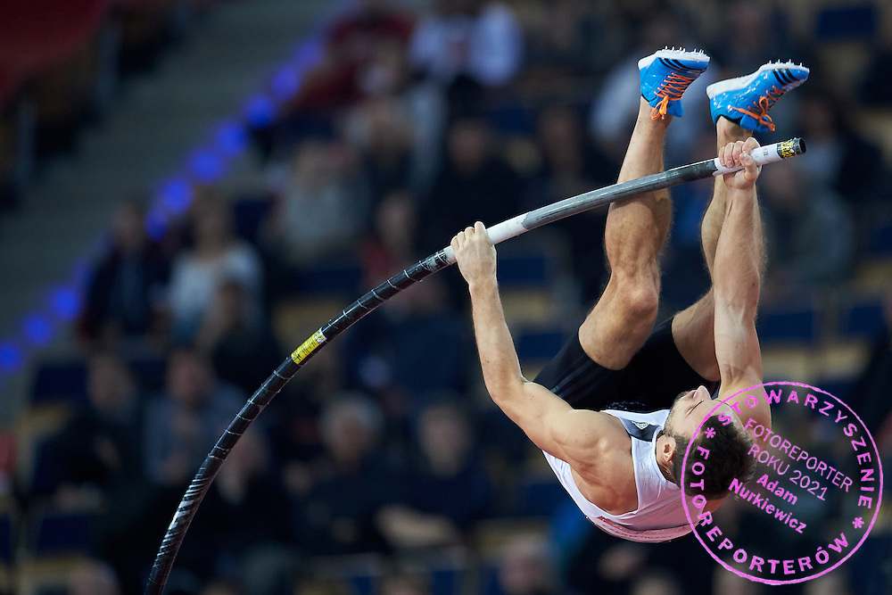 Przemyslaw Czerwinski from Poland competes in men's pole vault competition during athletics meeting Pedro's Cup at Atlas Arena in Lodz, Poland.<br /> <br /> Poland, Lodz, February 17, 2015<br /> <br /> Picture also available in RAW (NEF) or TIFF format on special request.<br /> <br /> For editorial use only. Any commercial or promotional use requires permission.<br /> <br /> Adam Nurkiewicz declares that he has no rights to the image of people at the photographs of his authorship.<br /> <br /> Mandatory credit:<br /> Photo by &copy; Adam Nurkiewicz / Mediasport