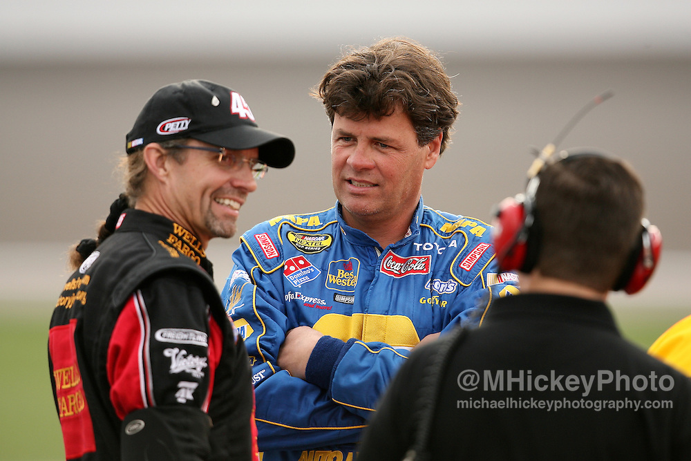 Kyle Petty and Michael Waltrip seen on pit road at Las Vegas Motor Speedway.