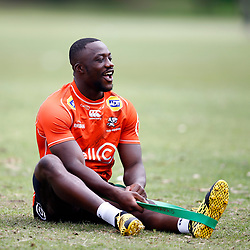 Madosh Tambwe of the Cell C Sharks during the Cell C Sharks training session from theBox Hill Rugby Union Football Club  RHL Sparks Reserve, Canterbury Rd & Middleborough Road, Box Hill VIC 3128. Melbourne,Australia 20 February 2020. (Photo Steve Haag Sports -Hollywoodbets)