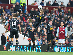 BIRMINGHAM, ENGLAND - Easter Sunday, March 31, 2013: Liverpool's Lucas Leiva in action against Aston Villa during the Premiership match at Villa Park. (Pic by David Rawcliffe/Propaganda)