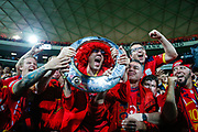 Adelaide United fans celebrate the club's first A-League grand final win at Adelaide Oval, Adelaide, South Australia. 01/05/2016. Photo by Luke Hemer. Copyright Luke Hemer.