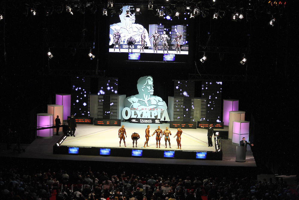 The top six on stage at the finals for the 2009 Mr. Olympia competition in Las Vegas.