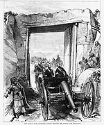 British in Afghanistan 1879 horse-drawn Artillery passing through the Cabool gate in Jelalabad Harper's Weekly March 8, 1879