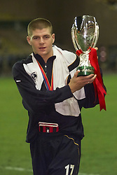MONACO, FRANCE - Friday, August 24, 2001: Liverpool's Steven Gerrard with the UEFA Super Cup trophy after beating Bayern Munich 3-2 at the Stade Louis II in Monaco. (Pic by David Rawcliffe/Propaganda)