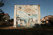 A mural that represents the miners' life in Bacu Abis village.