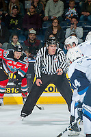 KELOWNA, CANADA - OCTOBER 14: Linesman, Kevin Crowell, stands at the face-off the Kelowna Rockets and the Saskatoon Blades on October 14, 2016 at Prospera Place in Kelowna, British Columbia, Canada.  (Photo by Marissa Baecker/Shoot the Breeze)  *** Local Caption *** Kevin Crowell;