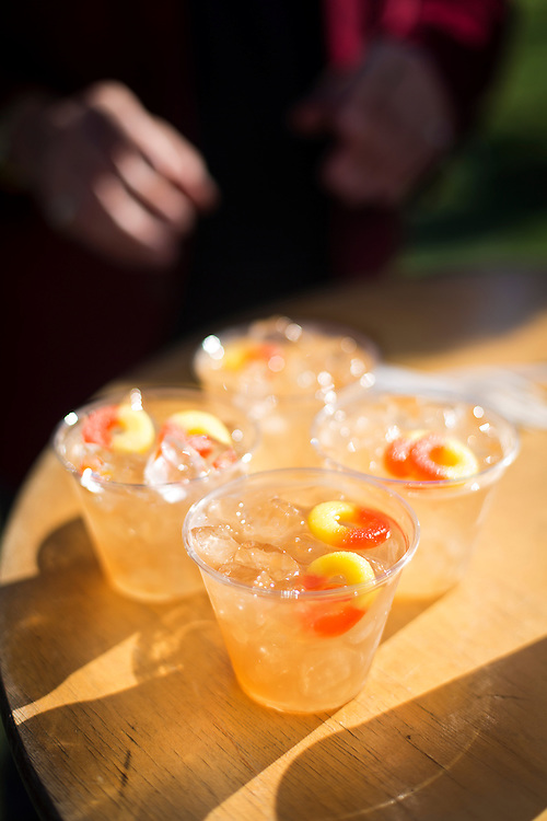 """A quartet of """"Fuzzy Navel 2.0"""" cocktails rest on a table during the Yum Yum Fest in Central Park on Sunday afternoon in Madison. A joint charity effort between the Madison Parks Foundation & Madison Area Chefs Network, this year marks the 3rd Annual end of summer celebration of local area food and drinks."""