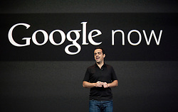 Hugo Barra, product management director of Android, introduces the Google Now service during the keynote speech at  the Google I/O Developer Conference in San Francisco, California.