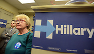 Sarah Eustis of Warrington, Pennsylvania listens as former California Congressman Tony Coelho (not shown) speaks at the opening of the Hillary Clinton campaign office Thursday April 21, 2016 in Doylestown, Pennsylvania. (Photo by William Thomas Cain)