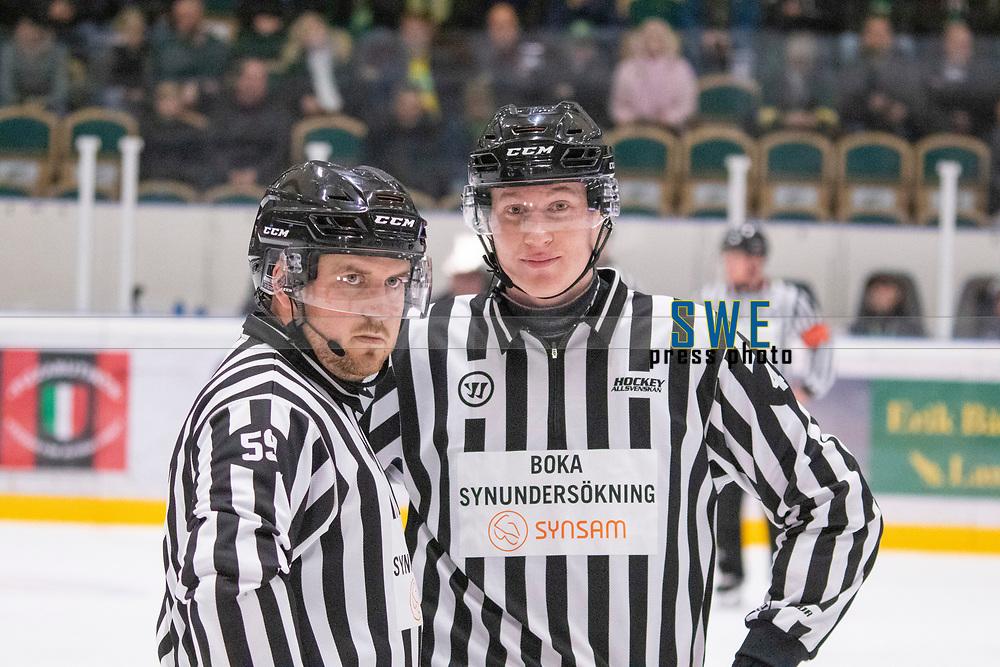 2019-10-09 | Umeå, Sweden:  Domare Referee Marcus Olsson  and Domare Referee Teodor Sörholm during the game  between Björklöven and Karlskoga at A3 Arena ( Photo by: Michael Lundström | Swe Press Photo )<br /> <br /> Keywords: Umeå, Hockey, HockeyAllsvenskan, A3 Arena, Björklöven, Karlskoga, bk191009