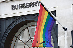 © Licensed to London News Pictures. 01/07/2019. LONDON, UK.  The Burberry store on Regent Street is one of many retail stores in the capital's West End whose exteriors are decorated in rainbow colours in support of Pride Month.  Pride is an annual celebration of the LGBT+ community and culminates in the LGBT+ parade in the UK, with thousands of people travelling the route either by foot or on floats.  Photo credit: Stephen Chung/LNP