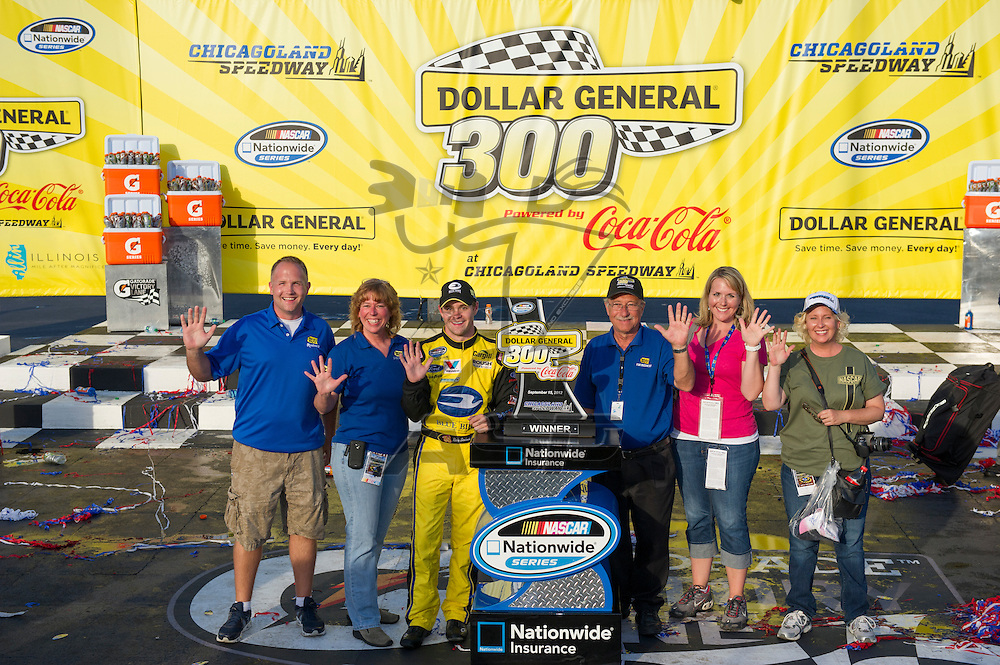 Joliet, IL - SEP 15, 2012:  Ricky Stenhouse, Jr. (6) wins the Dollar General 300 at Chicagoland Speedway in Joliet, IL.