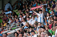 MELBOURNE, VIC - MARCH 03: A lone City fan raises his scarf to show support prior to the match at the round 21 Hyundai A-League soccer match between Melbourne City FC and Perth Glory on March 03, 2019 at AAMI Park, VIC. (Photo by Speed Media/Icon Sportswire)
