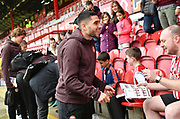 Brentford forward Neal Maupay (9) arrives for the EFL Sky Bet Championship match between Brentford and Queens Park Rangers at Griffin Park, London, England on 2 March 2019.