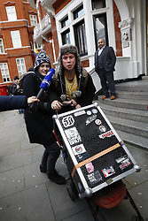© Licensed to London News Pictures. 06/02/2018. London, UK. Laurie Love (R) and his girlfriend Sylvia Mann leave the Ecuadorian Embassy as WikiLeaks founder JULIAN ASSANG awaits a court ruling on his arrest warrant. The Australian and Ecuadoran national skipped bail to enter the embassy in 2012 in order to avoid extradition to Sweden over allegations of sexual assault and rape, which he denies. Photo credit: Peter Macdiarmid/LNP