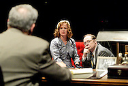 (from left) Saul Caplan, Melissa Kerr Ertsgaard and J. Gary Thompson during a dress rehearsal of A Case of Libel at the Dayton Theatre Guild in Dayton, Wednesday, May 19, 2010.