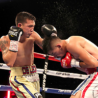 NEW ORLEANS, LA - JULY 14:  Erick DeLeon lands a shot to the head of Adrian Young during the Regis Prograis v Juan Jose Velasco ESPN boxing match at the UNO Lakefront Arena on July 14, 2018 in New Orleans, Louisiana.  (Photo by Alex Menendez/Getty Images) *** Local Caption *** Adrian Young; Erick DeLeon