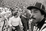 The Stanford sidelines during last few seconds of the 85th Big Game at Memorial Stadium in Berkeley, California played on November 20, 1982.  The game ended with The Play.  Coach Paul Wiggin visible in center.