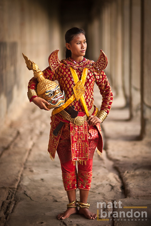 Ravana, portrayed by Rechana, a beautiful young Cambodian woman in Angkor Wat Temple.