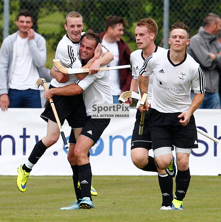 2015 SSE Scottish Hydro Camanachd Cup Final Saturday 19th September at Mossfield Stadium, Oban....Lovat celebrate Kevin Bartlett goal for Lovat...(c) STEPHEN LAWSON | SportPix.org.uk
