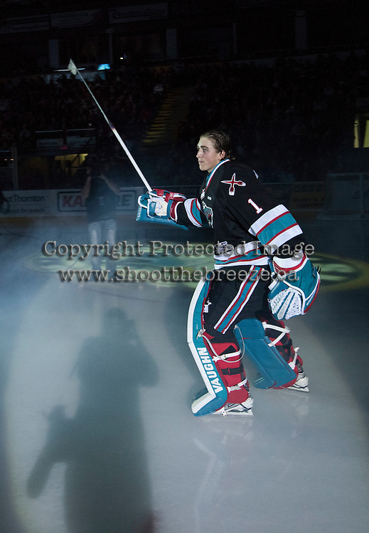 KELOWNA, CANADA - SEPTEMBER 25: Jackson Whistle #1 of Kelowna Rockets enters the ice during the season home opener against the Kamloops Blazers on September 25, 2015 at Prospera Place in Kelowna, British Columbia, Canada.  (Photo by Marissa Baecker/Shoot the Breeze)  *** Local Caption *** Jackson Whistle;