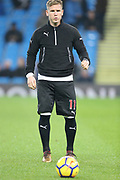 Matt Ritchie warms up  during the Premier League match between Manchester City and Newcastle United at the Etihad Stadium, Manchester, England on 20 January 2018. Photo by George Franks.