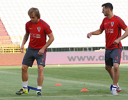 11.06.2015, Stadion Poljud, Split, CRO, UEFA Euro 2016 Qualifikation, Kroatien vs Italien, Gruppe H, Training Kroatien, im Bild Ivan Rakitic, Nikola Kalinic // during trainig of Team Croatia prior to the UEFA EURO 2016 qualifier group H match between Croatia and and Italy at the Stadion Poljud in Split, Croatia on 2015/06/11. EXPA Pictures © 2015, PhotoCredit: EXPA/ Pixsell/ Ivo Cagalj<br /> <br /> *****ATTENTION - for AUT, SLO, SUI, SWE, ITA, FRA only*****