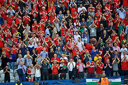 LENS, FRANCE - Thursday, June 16, 2016: Wales supporters applaud their team after the UEFA Euro 2016 Championship Group B match against England at the Stade Bollaert-Delelis. (Pic by Paul Greenwood/Propaganda)