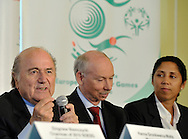 (L-R) SEPP BLATTER & JANUSZ LEWANDOWSKI & STEFFI JONES..SPECIAL OLYMPICS EUROPEAN SUMMER GAMES - WARSAW 2010..THE IDEA OF SEPCIAL OLYMPICS IS THAT, WITH APPROPRIATE MOTIVATION AND GUIDANCE, EACH PERSON WITH INTELLECTUAL DISABILITIES CAN TRAIN, ENJOY AND BENEFIT FROM PARTICIPATION IN INDIVIDUAL AND TEAM COMPETITIONS...WARSAW , POLAND , SEPTEMBER 18, 2010..MANDATORY CREDIT:.PHOTO BY ADAM NURKIEWICZ / MEDIASPORT