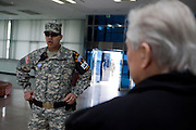 "Jiri Dienstbier - former dissident and Czechoslovakia's first foreign minister during a briefing at at the Joint Security Area (JSA). The Joint Security Area or Panmunjom, often called the ""Truce Village""  is the only portion of the Korean Demilitarized Zone (DMZ) where South and North Korean forces stand face-to-face. The area is used by the two Koreas for diplomatic engagements and, until March 1991, was also the site of military negotiations between North Korea and the United Nations Command (UNC). South Korea, Republic of Korea, KOR, 23rd of March 2010."