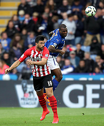 Leicester City's Wes Morgan beats Southampton's Graziano Pelle to a header - Photo mandatory by-line: Robbie Stephenson/JMP - Mobile: 07966 386802 - 09/05/2015 - SPORT - Football - Leicester - King Power Stadium - Leicester City v Southampton - Barclays Premier League