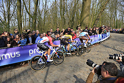 Oliver Naesen (BEL) AG2R La Mondiale, Danny Van Poppel (NED) Team Jumbo-Visma and Mathieu Van Der Poel (NED) Corendon-Circus on the 2nd ascent of the Kemmelberg during the 2019 Gent-Wevelgem in Flanders Fields running 252km from Deinze to Wevelgem, Belgium. 31st March 2019.<br /> Picture: Eoin Clarke | Cyclefile<br /> <br /> All photos usage must carry mandatory copyright credit (&copy; Cyclefile | Eoin Clarke)