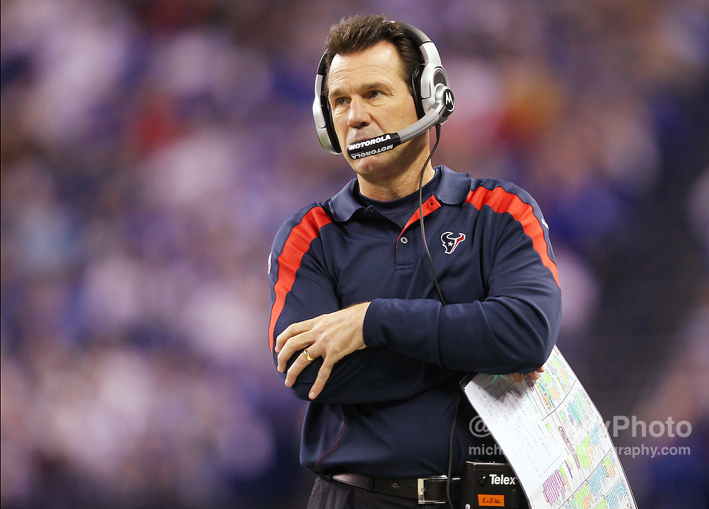 Dec. 22, 2011; Indianapolis, IN, USA; Houston Texans head coach Gary Kubiak looks up at the scoreboard during the game against the Indianapolis Colts at Lucas Oil Stadium. Indianapolis defeated Houston 19-16. Mandatory credit: Michael Hickey-US PRESSWIRE