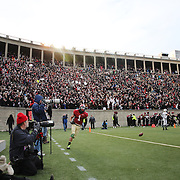 Andrew Fischer, (left), celebrates after catching a 35-yard touchdown pass from Conner Hempel for the winning touchdown with 55 seconds to play as Harvard beat Yale 31-24 to capture the Ivy League title outright during the Harvard Vs Yale, College Football, Ivy League deciding game, Harvard Stadium, Boston, Massachusetts, USA. 22nd November 2014. Photo Tim Clayton