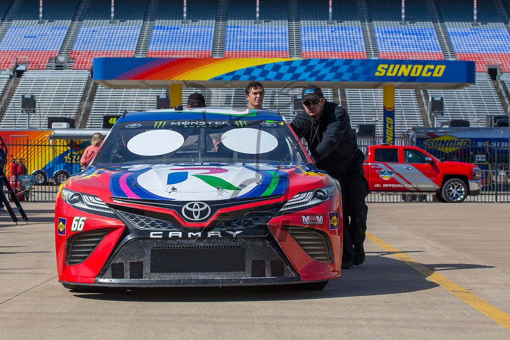November 02, 2018 - Ft. Worth, Texas, USA: The car of Timmy Hill (66) sits in the garage before practice for the AAA Texas 500 at Texas Motor Speedway in Ft. Worth, Texas.