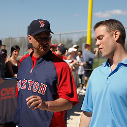 February 19, 2011; Fort Myers, FL, USA; Boston Red Sox manager Terry Francona and general manager Theo Epstein talk following a spring training practice at the Player Development Complex.  Mandatory Credit: Derick E. Hingle