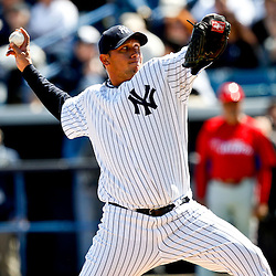 March 4, 2012; Tampa Bay, FL, USA; New York Yankees starting pitcher Freddy Garcia (36) during spring training game against the Philadelphia Phillies at George M. Steinbrenner Field. Mandatory Credit: Derick E. Hingle-US PRESSWIRE