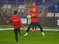 CARDIFF, WALES - Thursday, November 15, 2018: Denmark's goalkeeper Kasper Schmeichel during a training session at the Cardiff City Stadium ahead of the UEFA Nations League Group Stage League B Group 4 match between Wales and Denmark. (Pic by David Rawcliffe/Propaganda)