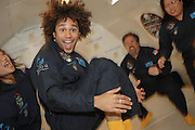 Actor Corbin Bleu, of High School Musical, floats through the air as he is tossed around by teachers during a Northrop Grumman Foundation Weightless Flights of Discovery, over Long Beach, Calif. By conducting anti-gravity experiments in flight, Bleu and Northrop Grumman hope to send a message to kids that science is fun. Photo/Northrop Grumman Corp., Susan Goldman.