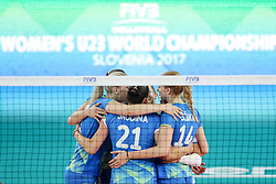 Players of Slovenia celebrate during the volleyball match between National team of Slovenia and Bolgaria in Semifinal Round of Womens U23 World Championship 2017, on September 16, 2017 in SRC Stozice, Ljubljana, Slovenia. Photo by Morgan Kristan / Sportida