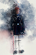 Digitally enhanced image of a Presidential Guard in traditional dress at the Tomb of the unknown soldier, Athens, Greece