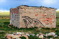 Raven drawing & graffiti on side of abandoned building on Kebler Mine property near Tioga, CO